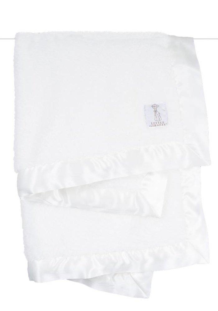 Little Giraffe White Satin Chenille Blanket