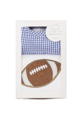 3 Marthas Blue Football Bib and Burp Box