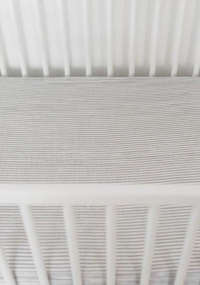 Little Unicorn Gray Stripe Cotton Muslin Crib Sheet