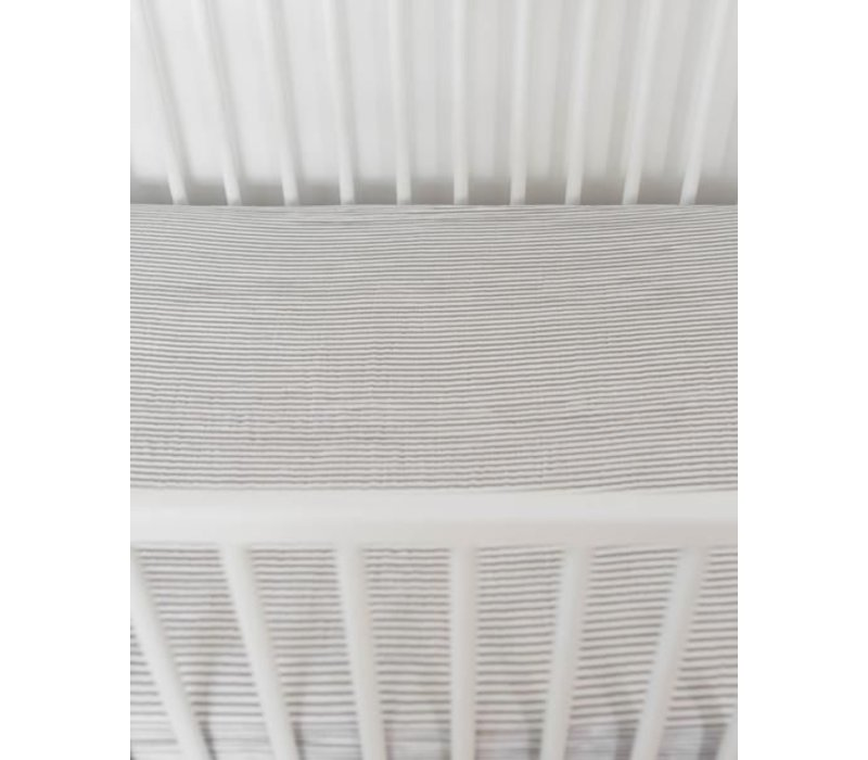 Little Unicorn Gray Stripe Cotton Muslin Crib Sheet