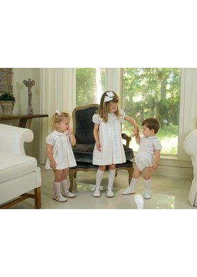 Lullaby Set Lullaby Set White with Blue Scallop Design Dress