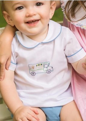 Lullaby Set Lullaby Set Pique Ice Cream Truck Emb Top with Blue Diaper