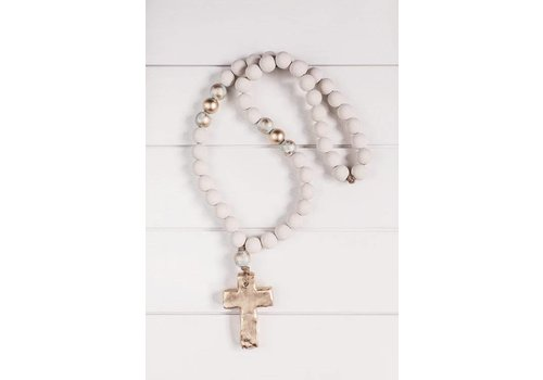 """Sercy Studio Sercy Gray with Gold Elle 30"""" Blessing Beads"""