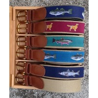 Chocolate Lab Ribbon Leather Tab Belt