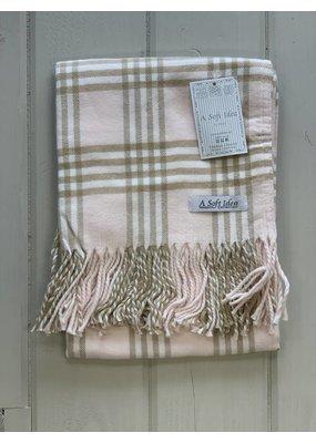 Pink Flannel w/ Fringe Blanket