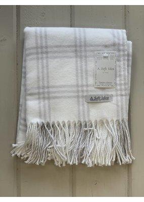 White Flannel w/ Fringe Blanket
