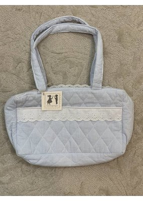 Seersucker/Eyelit Blue Diaper Bag