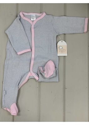 Paty Paty Footie Grey Stripe w/ Pink Trim