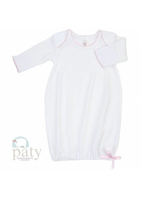 Paty Paty Long-Sleeve Lap Shoulder Daygown White/Pink