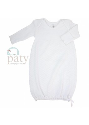 Paty Paty Long-Sleeve Lap Shoulder Daygown White/White