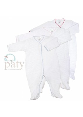 Paty Paty Long-Sleeve Footie White/Pink