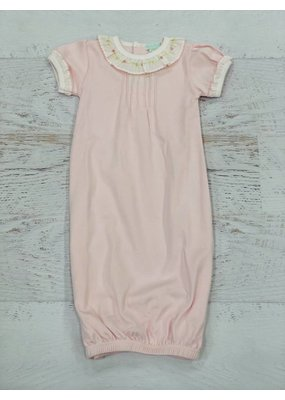 Little Threads Pink Daygown w/ Pintucks Short Sleeve