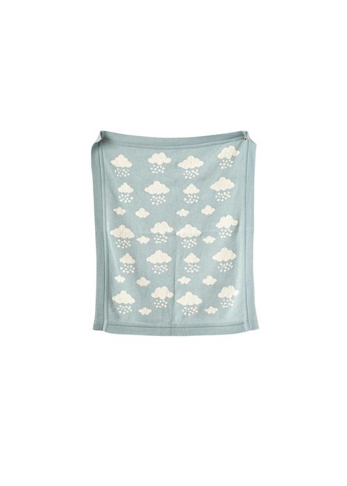Creative Co-op Cotton Knit Blue Clouds Blanket