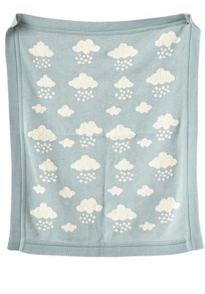 Cotton Knit Blue Clouds Blanket