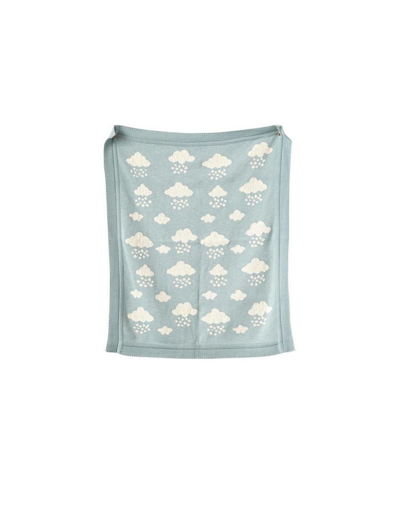 Creative Co-op Cotton Knit Blue Clouds Blanket