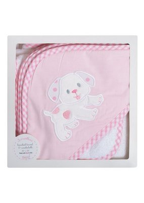 3 Marthas 3 Marthas Pink Puppy Hooded Towel and Washcloth Set