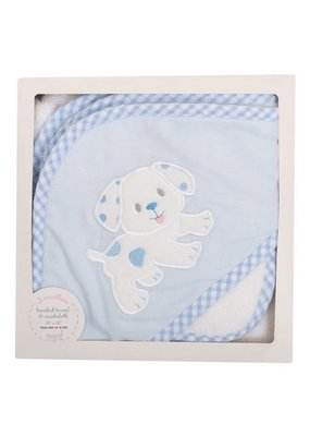 3 Marthas 3 Marthas Blue Puppy Hooded Towel with Washcloth