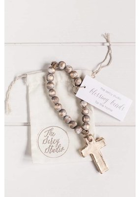 Sercy Studio Sercy Gray and Gold Bitty Blessing Beads 7.5""