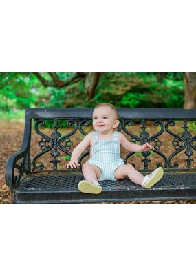 Lullaby Set Mint Stripe Knit Criss Cross Baby Bubble