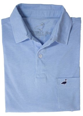 Properly Tied Light Blue Heathered Pocket Polo