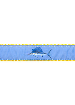 Ebinger Brothers Leather Company Light Blue Sailfish on Navy Belt with Leather Tab