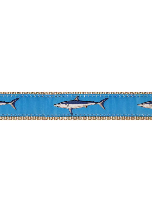 Ebinger Brothers Leather Company Light Blue Shark on Navy Belt with Leather Tab