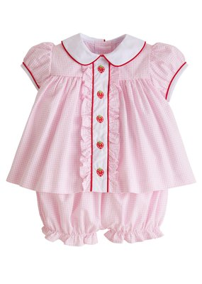 Little English Little English Strawberry Ruffled Sally Bloomer Set