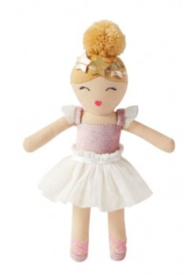 Mudpie White Skirt Ballerina Rattle