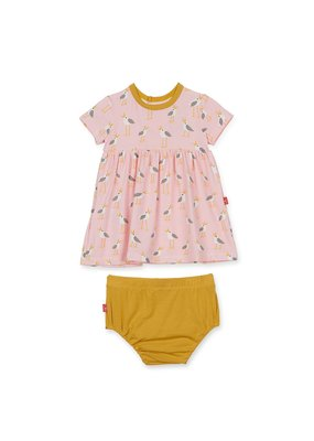 Magnetic Baby Pink Plovers Modal Magnetic Dress and Diaper Cover Set