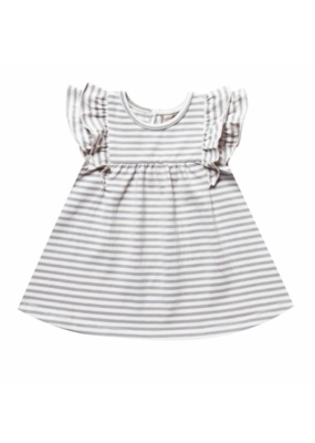 Quincy Mae Grey Striped Flutter Dress