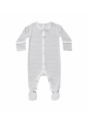 Quincy Mae Grey Striped Full Snap Footie