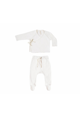 Quincy Mae Ivory Kimono Top & Footed Pant Set