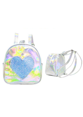 Silver Disco Heart Backpack
