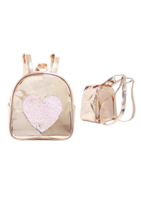 Gold Disco Heart Backpack