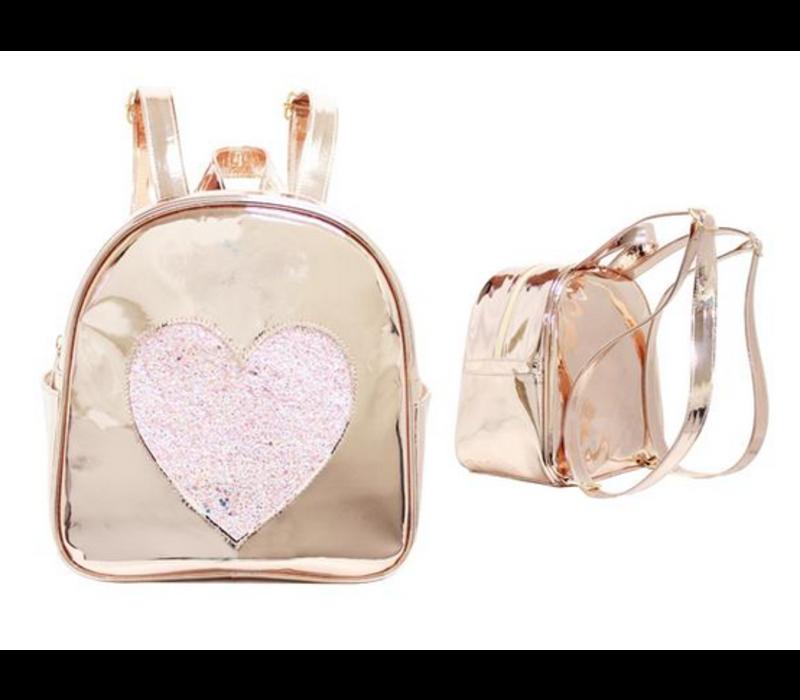 Gold Disco Heart Backpack