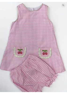 Claire & Charlie Cherries Pink Plaid Sleeveless Bloomer Set