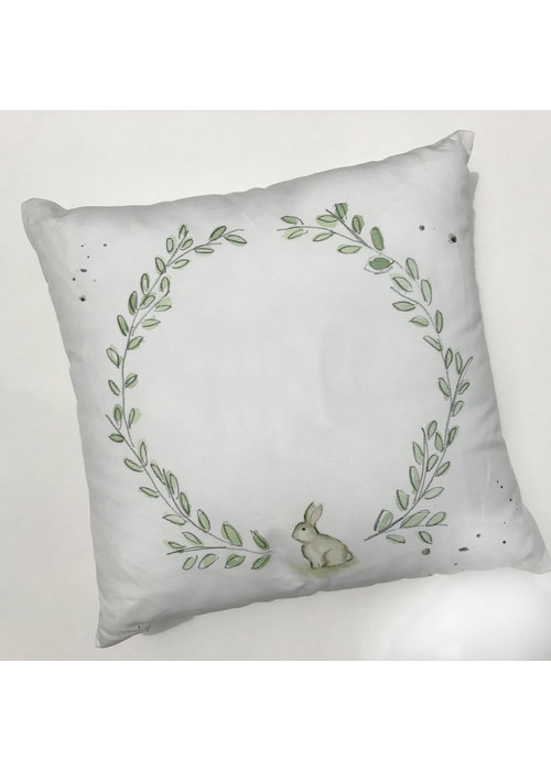"""Over the Moon 17"""" Laurel Wreath with Bunny Pillow"""