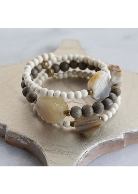 Stone + Stick Elara Triple Wrap Bracelet Gray