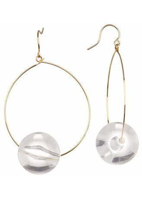Lucite and Gold Hoop Earring