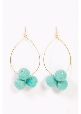 Long Pom Pom Teal Earring