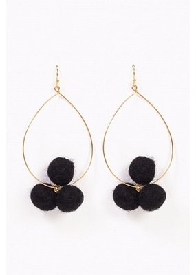 Long Pom Pom Black Earring
