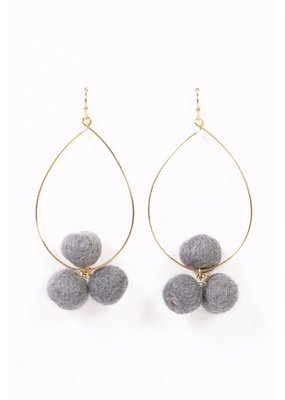 Long Pom Pom Gray Earrings