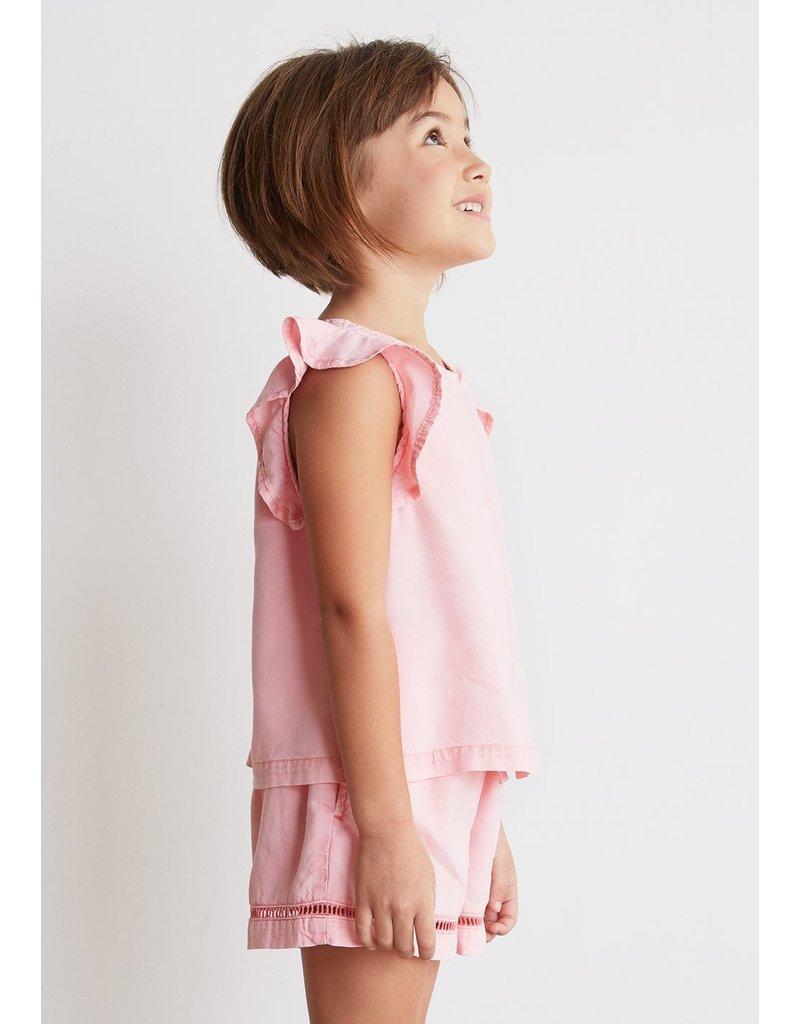 Bella Dahl Rose Blush Trimmed Flutter Sleeve Top