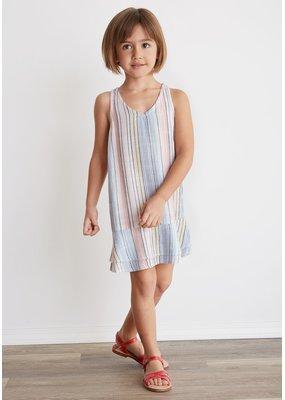 Bella Dahl Multi Stripe Racer Back Ruffle Dress