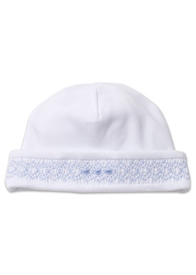 Kissy Kissy White and Blue Hat Hand Smocked NB