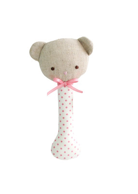 Alimrose Alimrose Baby Bear Stick Rattle Spot Pink on Ivory