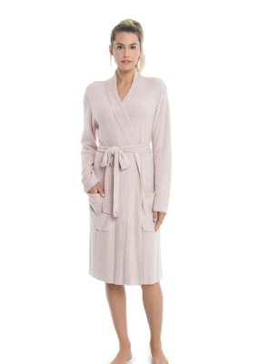 Barefoot Dreams Barefoot Dreams Cozychic Lite Heathered Ribbed Robe Faded Rose/Pearl