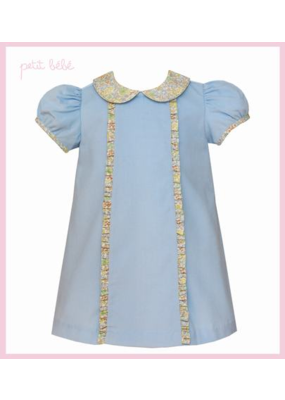 Petit Bebe Petit Bebe Light Blue Corduroy Dress with Collar and Ruffles
