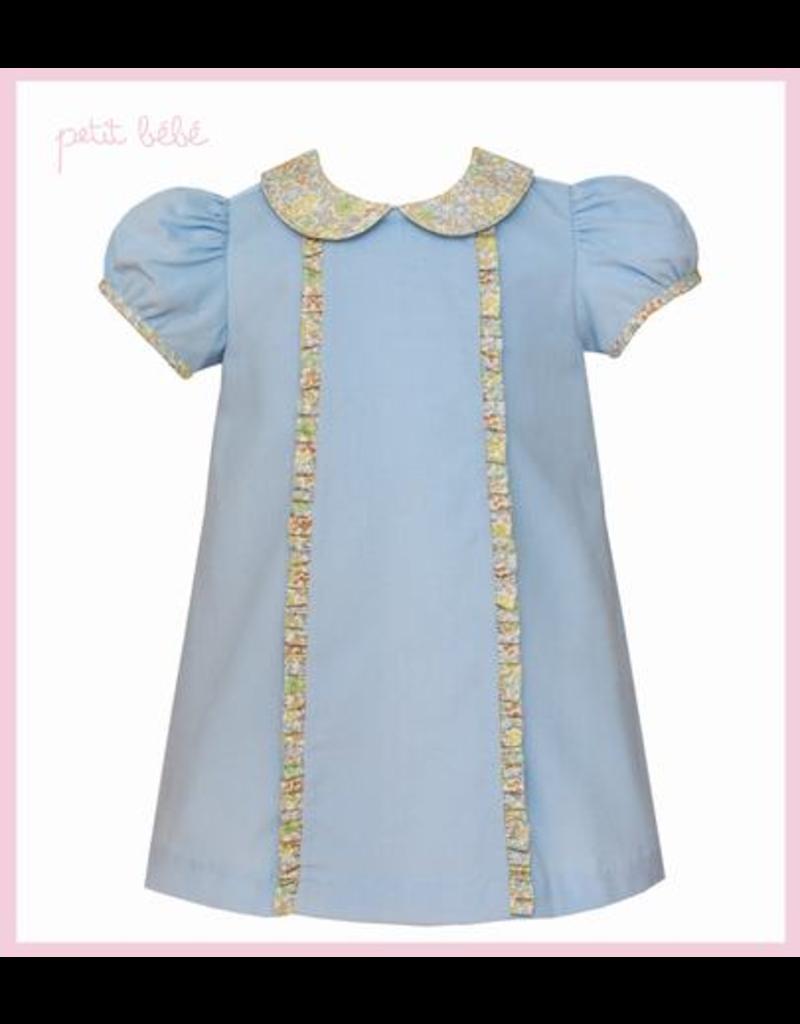 Petit Bebe Petit Bebe Light Blue Corduroy Dress with Collar and Ruffles
