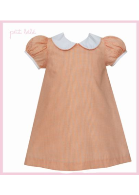 Petit Bebe Petit Bebe Orange Mini Check Float Dress